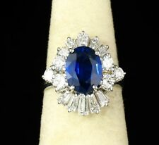 GREGG RUTH VINTAGE ESTATE NATURAL 5.80ctw BLUE SAPPHIRE & DIAMOND 18K GOLD RING