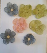 Set of 7 Vintage Hand Made Napkin Ring Holders Multi colors Lacy Unique Flowers