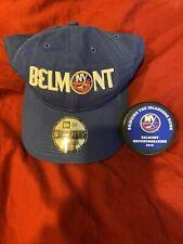 Rare New York Islanders 2019 Belmont Ground Breaking Hockey Puck & New Era Hat