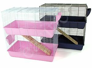 Indoor Rabbit Hutch Cage Bunny Guinea Pig Small Pet House Double Tier Two Levels