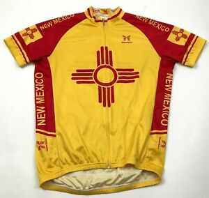 VINTAGE New Mexico Cycling Jersey Size Large Shirt Full Zip Yellow Short Sleeve
