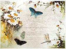Rice paper -Butterflies dragonfly flower- for Decoupage Scrapbooking Sheet