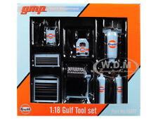 6PC GARAGE SHOP TOOLS SET GULF OIL 1/18 DIECAST REPLICA BY GMP 18872