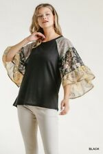 Umgee Black Floral Paisley Print Bell Sleeve Waffle Knit Top