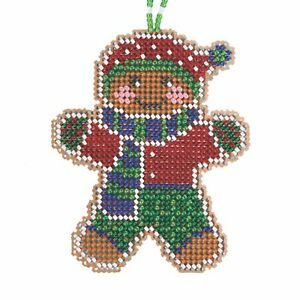Gingerbread Lad Cross Stitch Ornament Kit Mill Hill 2021 Beaded Holiday