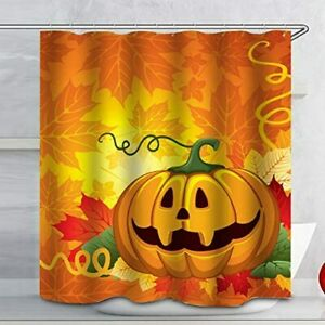 Pumpkin Halloween Shower Curtain Set Fabric Square Watrproof Bath Decor 12 Hooks