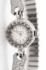 Vintage 1950s .50ct Diamond 14k White Gold BULOVA Ladies Watch