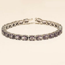 Natural Panorama Amethyst Solitaire Tennis Bracelet 925 Sterling Silver Jewelry