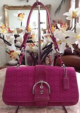 Coach Soho Hot Pink Mini Signature Rare Buckle Flap Kelly Baguette Purse #7075