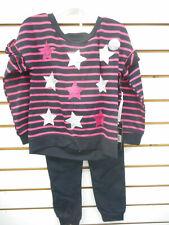 Girls KidTopia Pink & Black L.S. Top W/Pants 2Pc Set Sz 2T, 3T, 4T, 4, 5, 6 & 6X
