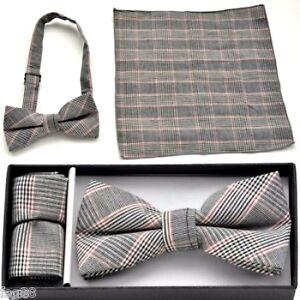 New Pre Tied Bow Tie & Pocket Black White Red Hankie Handkerchief Plaid Checkers