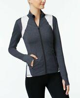 Ideology Womens Fitness Workout Athletic Jacket Charcoal Melange Size X-Large