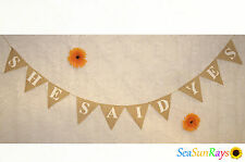 She Said Yes Hessian Bunting Decorations Wedding Rustic Banner Bride Burlap