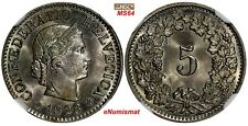 SWITZERLAND Copper-Nickel 1928 B 5 Rappen NGC MS64 HELVETICA KM# 26