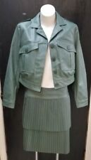 NWT Serena Williams Faux Leather Jacket & Pleated Green Tennis Skirt Suit Size S