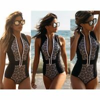 Women's Retro One Piece Swimsuit Swimwear Bathing Monokini Push Up Padded Bikini