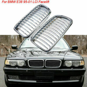 For BMW E38 740/750 7 Series Sedan 95-01 Pair Chrome Front Bumper Kidney Grille
