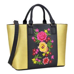 Dasein Medium Black/Gold Classic Tote Bag Satchel Carry All Handbag