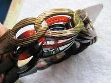 3 Scunci Woven Interlocking Rings Plastic Hair Head Bands Headbands Black Amber