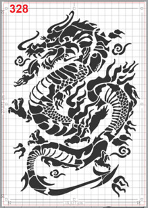 Lucky Chinese Dragon Stencil MYLAR A4 sheet strong reusable Art Craft Wall Deco