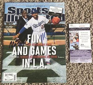 Magic Johnson And Matt Kemp Autographed Signed Sports Illustrated w/ JSA COA