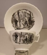 More details for 19th century black and white transferware cup and saucer wedding scene