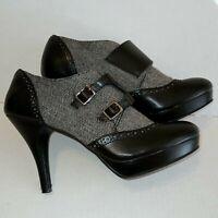 Dexflex Comfort Women Size 8 Black Gray Pumps Heels Closed Toe Shoes Houndstooth