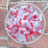 20 Plastic vial JARS TINY Mini Tubes Container Powder Herbs 2209 Red Screw Caps