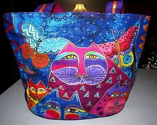 LAUREL BURCH BLUE & PINK MULTI-COLOR CATS IN BUTTERFLY GARDEN COTTON MEDIUM TOTE