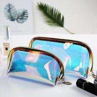 Women Makeup Bag Transparent Travel Makeup Pouch Zip Cosmetic Storage Case Bag