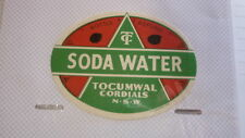 OLD AUSTRALIAN SOFT DRINK CORDIAL LABEL, TOCUMWAL NSW SODA WATER c1950s
