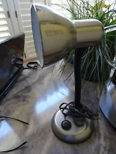 STAINLESS STEEL DESK LAMP with Round Base and Adjustable Arm - Works Great!
