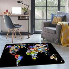 3D Black Background P518 World Map Non Slip Rug Mat Elegant Photo Carpet Kay