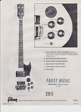 VINTAGE AD SHEET #2185 -  1970s GIBSON GUITAR - MODEL EB-3