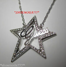 GUESS Exclusive Lasercut Logo Star Necklace Collier Rhinestones Gift Pouch New