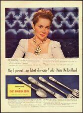 1940's Vintage ad for 1847 Rogers Bros. Silverplate/Olivia DeHavilland (012513)