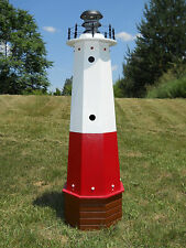 "Well pump cover wooden lighthouse with solar light - 48"" tall - Vermilion"