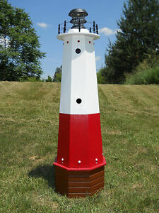 """Well pump cover wooden lighthouse with solar light - 48"""" tall - Vermilion"""