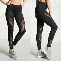 Women's High Waist Yoga Pants Mesh Sports Fitness Gym Athletic Jogging Leggings