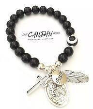 Evil Eye Saint Michael Guardian Angel Faith Cross Wing Charms Onyx Bracelet
