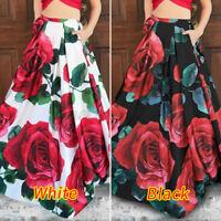 LADIES HIGH WAIST LONG FLORAL JERSEY FLARE MAXI SKIRT EVENING PROM DRESS UK 8-26