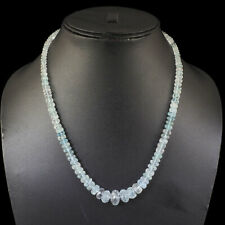 "19"" Natural Blue Aquamarine Necklace Facetted Beads 925 Sterling Silver Clasp"