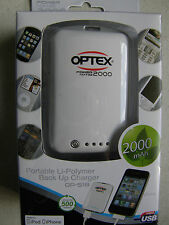 Optex 2000mAh Portable Li-Polymer Back Up Charger For all iPhone, iPad, iPod USB