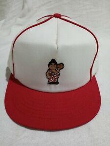 Vintage Bob's Big Boy Hamburger White & Red Stripped Snapback Hat Advertising