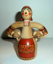 Russian Wooden Girl Figure Carrying 2 Pigs