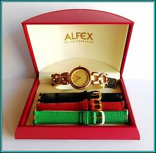 ALFEX QUARTZ Ladies Wristwatch - Interchangeable Bracelets - Swiss Made - N.O.S.