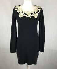 Monsoon Jumper Dress Small Black Floral Embroidered Mesh Long Sleeve Wide Neck