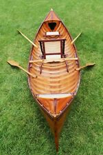 Cedar Strip Wood TRADITIONAL CANOE With Ribs 15.8Ft Rowing Boat Water Sports New