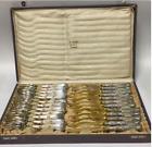 Fabulous German Art Nouveau Fruit/Desert Fork & Knife Fitted Case Silver 800