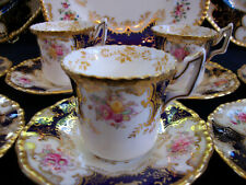 COALPORT PANEL COBALT Y2665 OCHRE CENTER- DEMI CUP & SAUCER- RARE!! EXCELLENT!!